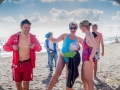 Swimmers preparing for a cold charity swim in the sea