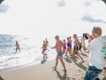 Charity Swimmers running into the sea, Fuengirola - Rich PhotoVideo
